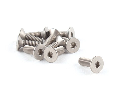 Titanium M4 x 12 Countersunk Hex Screw (10pcs/bag)
