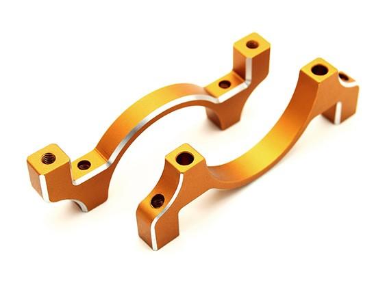 Gold Anodized CNC Aluminum Tube Clamp 30mm Diameter
