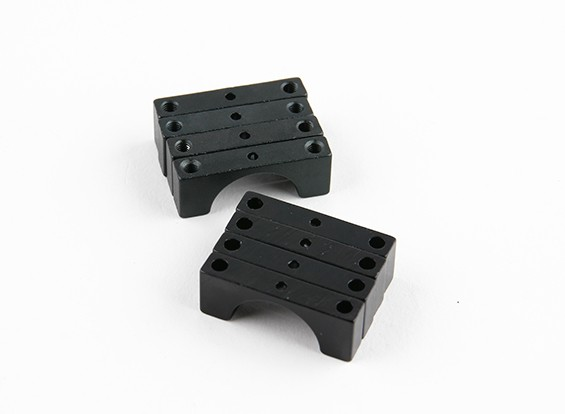 Black Anodized Double Sided CNC Aluminum Tube Clamp 15mm Diameter