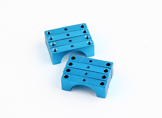 Blue Anodized Double Sided CNC Aluminum Tube Clamp 15mm Diameter