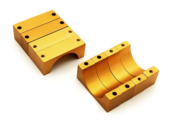Gold Anodized Double Sided 10mm CNC Aluminum Tube Clamp 22mm Diameter (Set of 4)