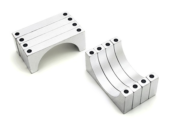 Silver Anodized Double Sided 6mm CNC Aluminum Tube Clamp 28mm Diameter (Set of 4)