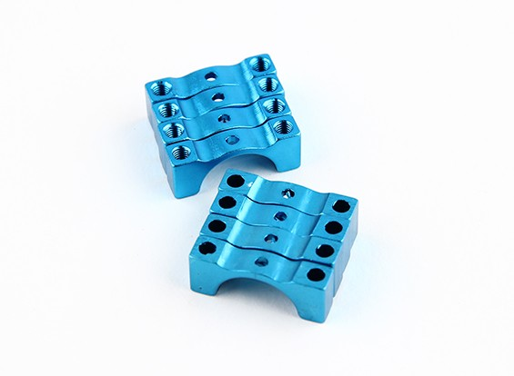 Blue Anodized Double Sided CNC Aluminum Tube Clamp 12mm Diameter