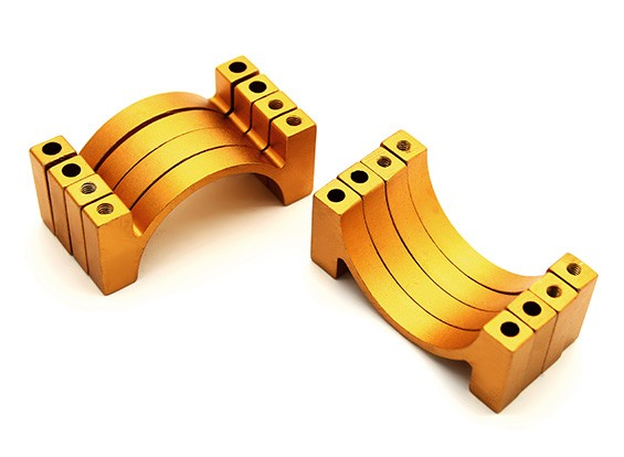 Gold Anodized CNC Aluminum Tube Clamp 28mm Diameter (Set of 4)