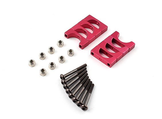 Red Anodized CNC Super Light Alloy Tube Clamp 12mm Diameter (4set)