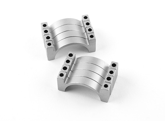 Silver Anodized Double Sided CNC Aluminum Tube Clamp 25mm Diameter