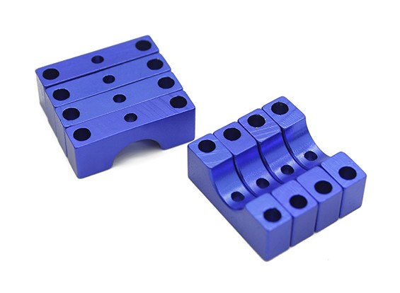 Blue Anodized Double Sided CNC Aluminum Tube Clamp 8mm Diameter