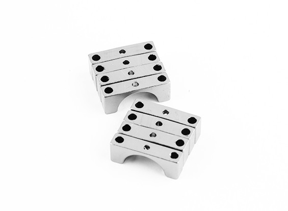 Silver Anodized Double Sided CNC Aluminum Tube Clamp 14mm Diameter