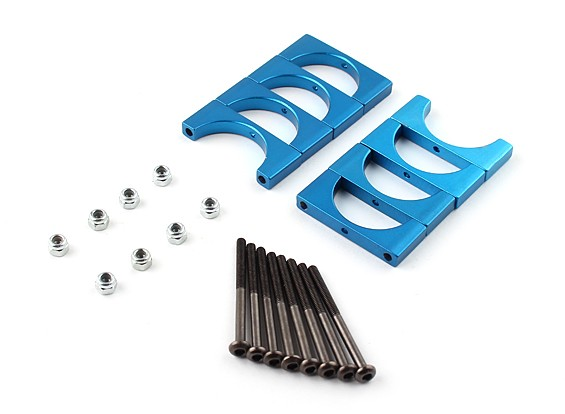 Blue Anodized Double Sided CNC Aluminum Tube Clamp 22mm Diameter