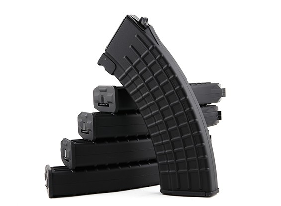 King Arms 600rounds Waffle Pattern magazines for Marui AK AEG (Black, 5pcs/ box)