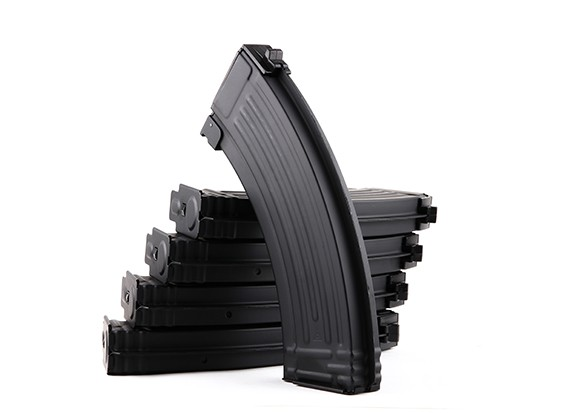 King Arms 140rounds metal magazines for Marui AK AEG series (Black, 5pcs/box)