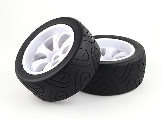 1/8 On-Road Truggy LPR White Tire Set 17mm Hex (2pcs)