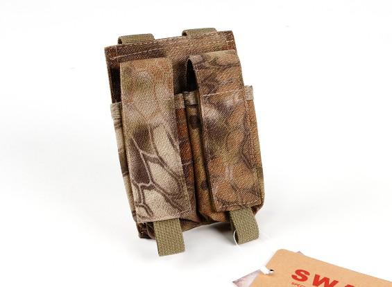 SWAT 500D Nylon Molle Handgun Double Mag Pouch (Kryptek Highlander)