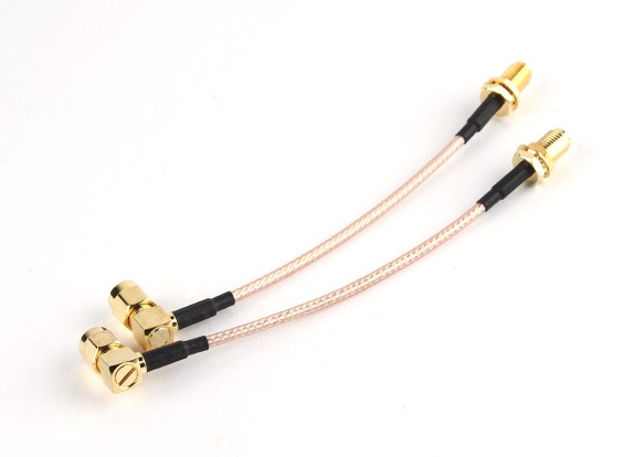 RP-SMA Plug with 90 Degree Adapter < - > RP-SMA Jack 100mm RG316 Extension (2pcs/set)