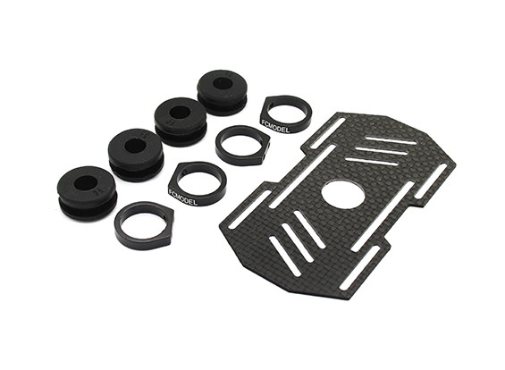 Carbon Multi-Rotor Battery Mount with Rubber Damping Suits 8mm Booms