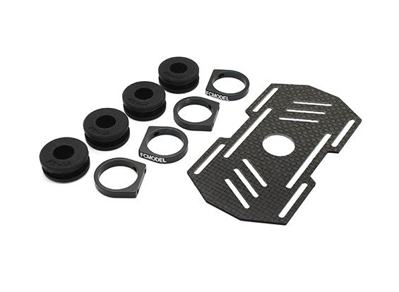 Carbon Multi-Rotor Battery Mount with Rubber Damping Suits 10mm Booms