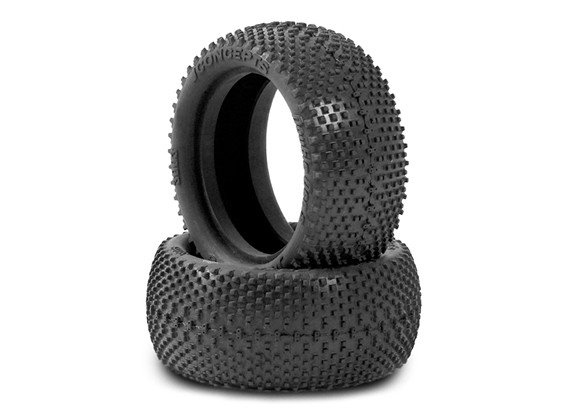 JCONCEPTS Double Dee's 1/10th 4WD Buggy Front Tyres - Black (Mega Soft) Compound