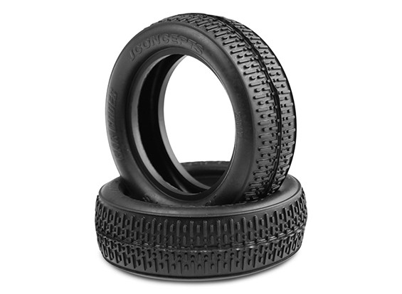 JCONCEPTS Bar Codes 1/10th 2WD Buggy Front Tyres - Green (Super Soft) Compound