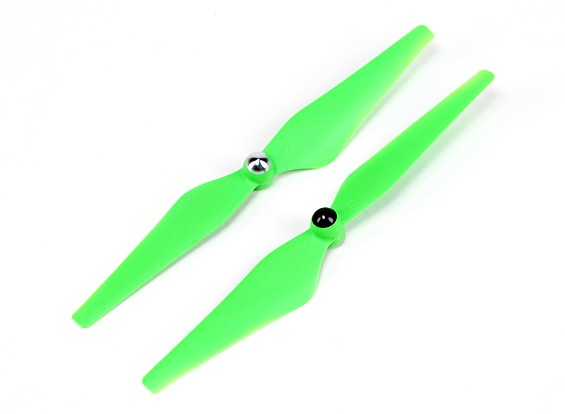 Hobbyking™  Self Tightening Propeller 9x4.5 Green (CW/CCW) (2pcs)