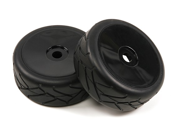 1/8 Scale Black Pro Dish Wheels With Semi Slick Style Tires (2pc)