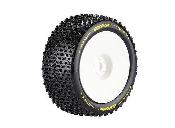LOUISE T-PIRATE 1/8 Scale Truggy Tires Super Soft Compound /0 Offset / White Rim / Mounted