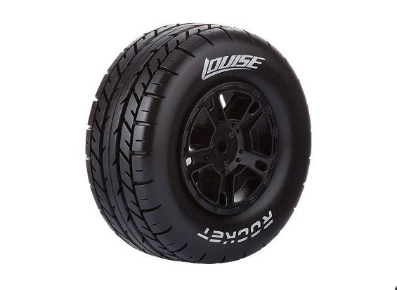 LOUISE SC-ROCKET 1/10 Scale Truck Rear Tires Soft Compound / Black Rim / Mounted