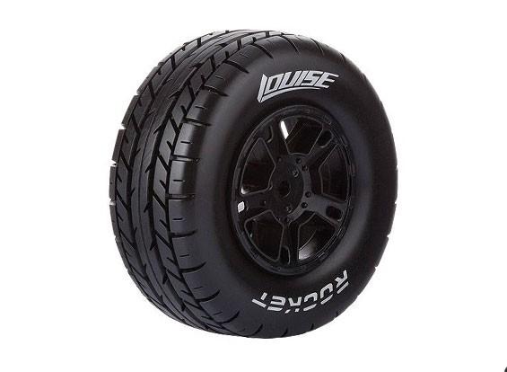 LOUISE SC-ROCKET 1/10 Scale Truck Tires Soft Compound / Black Rim (For LOSI TEN-SCTE 4X4) / Mounted