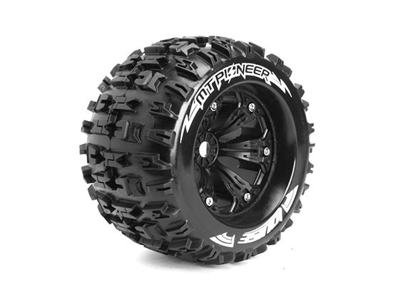 """LOUISE MT-PIONEER 1/8 Scale Traxxas Style Bead 3.8""""  Monster Truck SPORT Compound / Black Rim"""