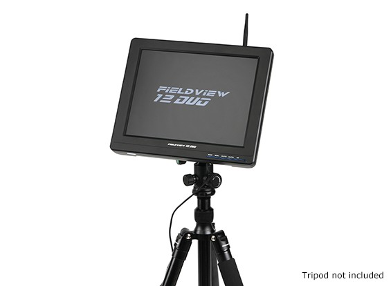 12 inch 800 x 600 LCD Sunlight Viewable FPV Monitor w/32CH Dual Receiver, PIP (US plug)