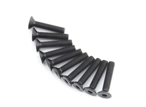 Screw Countersunk Hex M4 x 20mm Machine Steel Black (10pcs)