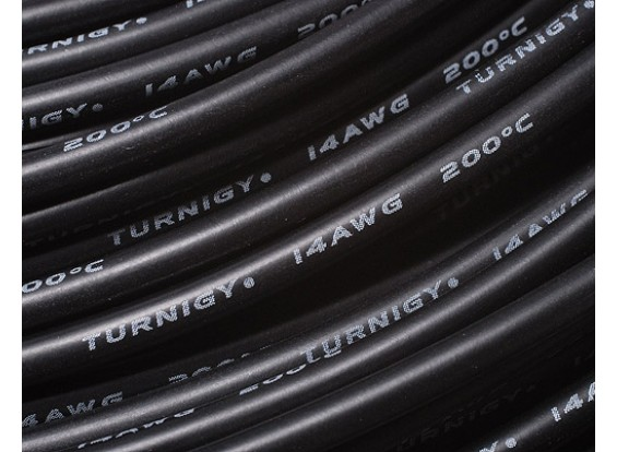 Turnigy Pure-Silicone Wire 14AWG 1m (Black)
