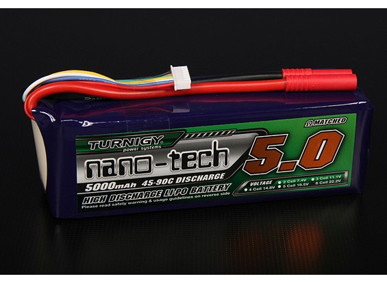 Turnigy nano-tech 5000mah 6S 45~90C Lipo Pack