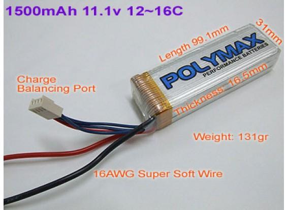 Polymax 1500mAh 11.1v 12~16C Li-Po Pack