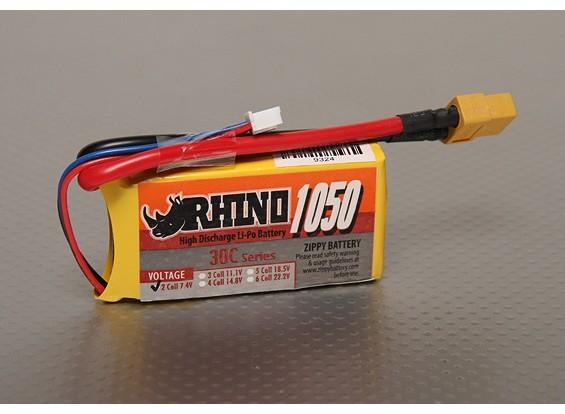 Rhino 1050mAh 2S 7.4v 30C Lipoly Pack