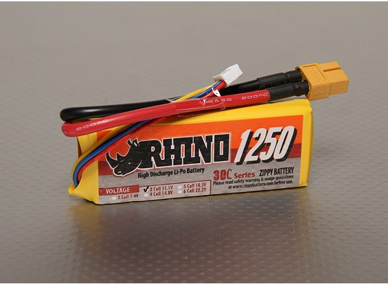 Rhino 1250mAh 3S 11.1v 30C Lipoly Pack