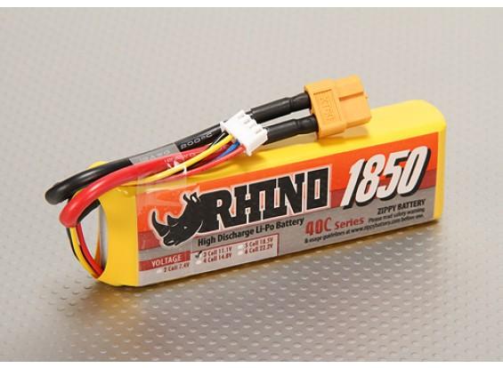 Rhino 1850mAh 3S 11.1v 40C Lipoly Pack