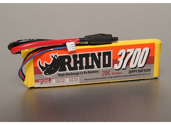 Rhino 3700mAh 2S1P 20C Lipoly Pack