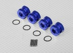 Blue Anodised Aluminum 1/8 Wheel Adaptors with Wheel Stopper Nuts (17mm Hex - 4pc)
