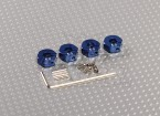 Blue Aluminum Wheel Adaptors with Lock Screws - 5mm (12mm Hex)