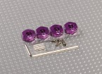 Purple Aluminum Wheel Adaptors with Lock Screws - 5mm (12mm Hex)