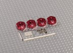 Red Aluminum Wheel Adaptors with Lock Screws - 5mm (12mm Hex)