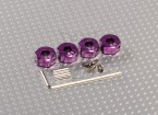 Purple Aluminum Wheel Adaptors with Lock Screws - 6mm (12mm Hex)