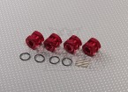 Red Anodised Aluminum 1/8 Wheel Adaptors with Wheel Stopper Nuts (17mm Hex - 4pc)