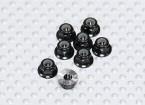 Black Anodised Aluminum M3 Nylock Wheel Nuts w/ Serrated Flange (8pcs)