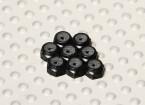 Black Anodised Aluminum M2 Nylock Nuts (8pcs)