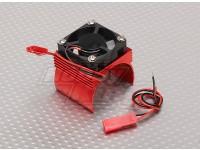 Motor Heat Sink w/Fan Red Aluminum (34mm)