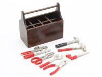 1/10 Scale Wooden Tool Box with Tools