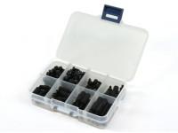 M3 Nylon Spacer Screw Nut Assorted Kit w/Box (Black) (180pcs)