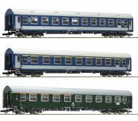Roco/Fleischmann HO Scale 3 Piece D270 Meridian 1, DDR, MAV Carriage Set