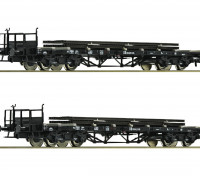 Roco/Fleischmann HO Scale Flat Double Bogie Wagons x 2 w/ Load DB